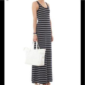 Vince Stripe Navy Long Sleveless Dress